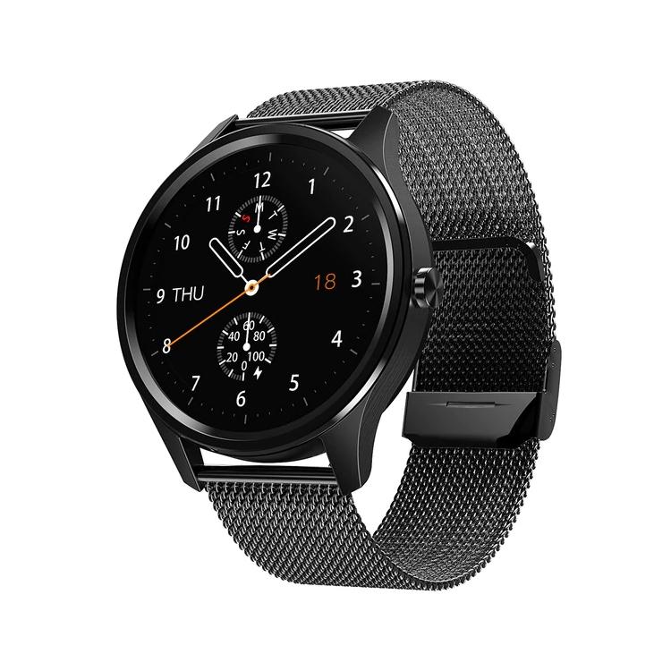 Ceas smartwatch TechONE™ DT55, 1.3 inch Full HD, ritm cardiac, ECG, oxigen, rezistent la apa IP67, senzor Bosch, bratara fitness, Notificari, Vibratii, stand by 7 zile, sporturi multiple, fatete multiple, bratara metalica, Auriu