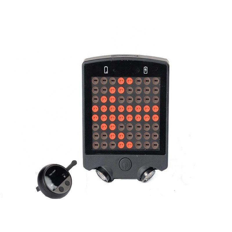 Semnalizare bicicleta cu telecomanda, Huerler® 0200, COB LED, rezistent la apa, stop bicicleta, acumulator 650mAh, cu trasare dungi laser pe asflat, negru