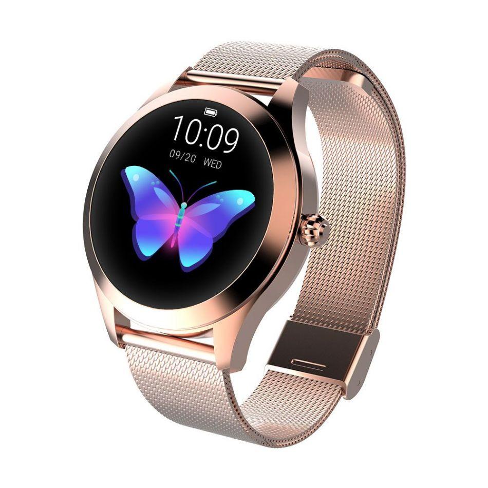 Ceas smartwatch TechONE™ KW10, pentru femei, monitorizare ciclu menstrual, ritm cardiac, pedometru, sedentarism, somn, notificari instant, bratara metalica, rezistent la apa ip68, vibratii, multi sport, auriu