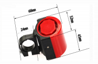 Claxon de bicicleta TechONE®, LB-F1, cu baterii, rosu/negru