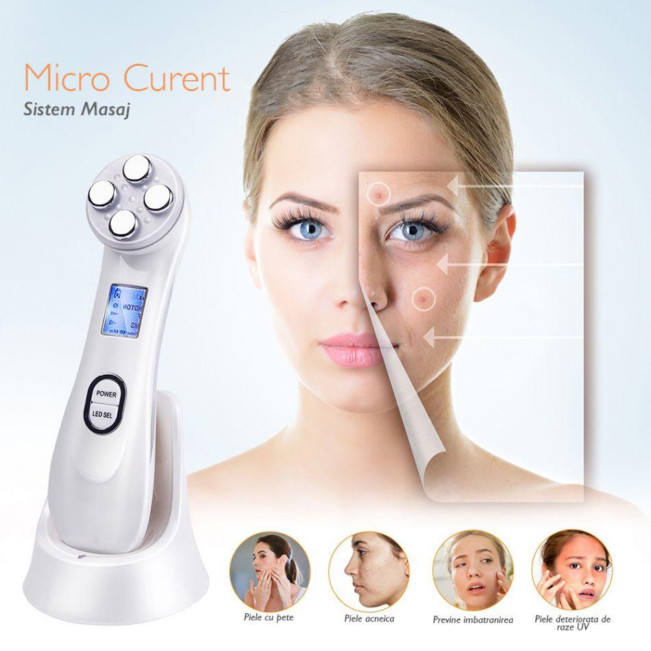Aparat pentru intinerirea pielii 5 in 1 Horigen™ Photon Skin, anti rid, tratament Electroporare, RF si cu lumina LED, anti rid, inchide porii, acnee, albire, fata si gat, stand incarcare, Alb