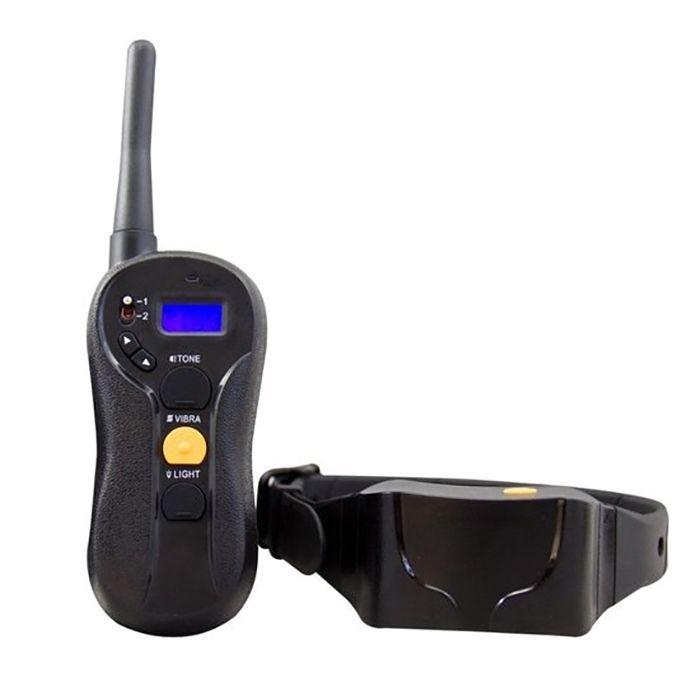 Zgarda electrica pentru dresaj caini, Techone™ 620, raza 600 m, sunet, vibratie si soc (16 nivele), cu acumulator, rezistenta la apa si praf, electrozi cauciucati, protectie piele caine, ideal si vanatoare, circumferinta reglabila 17-61.9 cm, negru