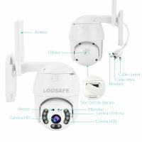 Camera de supraveghere WIFI Loosafe® 20HS Pro, 3MP, de exterior sau interior, Full HD 2K, 4X zoom, rotire din aplicatie, leduri lumina, comunicare bidirectionala, stocare pe card sau in cloud, senzor miscare Alb