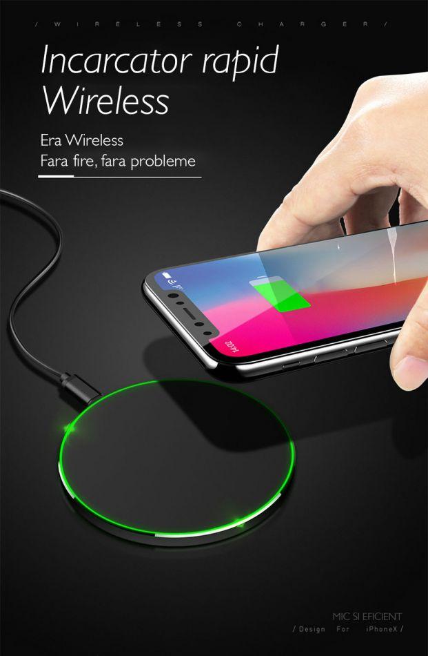 Incarcator wireless de birou rotund Loowoko™ X9, 10W Fast Charge, lumina led, compatibil Samsung, Apple, Huawei, Sony, Nokia, Xiaomi, Lenovo, Oppo, Negru