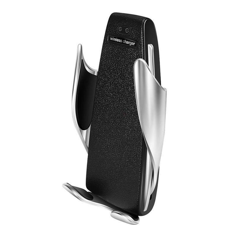 Incarcator wireless auto automat, Loowoko™ S9, de masina, cu prindere in grila de ventilatie, acoperit cu sticla, senzor de apropiere, 15W Fast Charge, compatibil Samsung, Apple, Huawei, Sony, Nokia, Xiaomi, Lenovo, Oppo, Negru