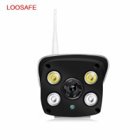 Camera de supraveghere IP wireless Loosafe® LS C6, de exterior, night vision color, Full HD 1080p, camera 2.0 MP, microfon, senzor miscare, card memorie 32GB inclus, alb