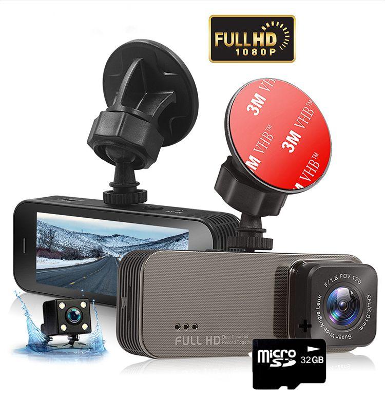Camera auto dubla DVR Loosafe™ RoadTeam T701, 3.2 inch IPS, Touch, unghi 140, montor parcare, detectare miscare, 1080p 30fps, camera marsarier, inregistrare ciclica, pentru parbriz, negru