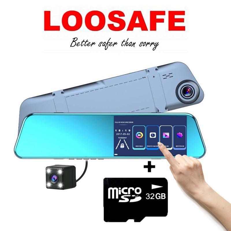 Camera auto oglinda dubla DVR Loosafe™ RoadTeam H10, 5.2 inch, Touchscreen, super subtire, unghi 170 de grade, 1080p 30fps, lentile 6 straturi, camera marsarier, inregistrare ciclica, WDR, negru