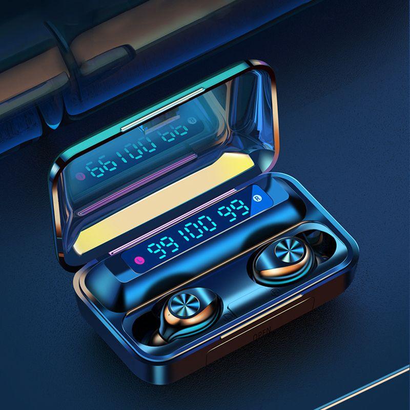 Casti bluetooth Runmus® EarBuds F9-10, wireless, handsfree, BT 5.0, carcasa cu afisaj 3 x LED si capacitate de incarcare telefon 1200mAh, control Touch muzica/volum/refuz/raspuns, incarcare magnetica, compatibil universal, functie reducere zgomot, negru