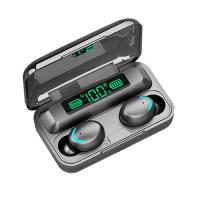 Casti bluetooth Runmus® EarBuds F9-5, wireless, handsfree, BT 5.0, carcasa cu afisaj LED si capacitate de incarcare telefon 1200mAh, control Touch, incarcare magnetica, compatibil universal, functie reducere zgomot, negru