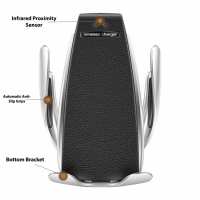 Incarcator wireless auto automat, Loowoko™ S5, de masina, cu prindere in grila de ventilatie, senzor de apropiere, 10W Fast Charge, compatibil universal standard Qi, Samsung, Apple, Huawei, Sony, Nokia, Xiaomi, Lenovo, Oppo, Negru
