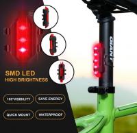Stop bicicleta Huerler® DC918, LED, rezistent la apa, acumulator 250mAh, unghi luminare 180 grade, incarcare USB, 4 moduri, negru