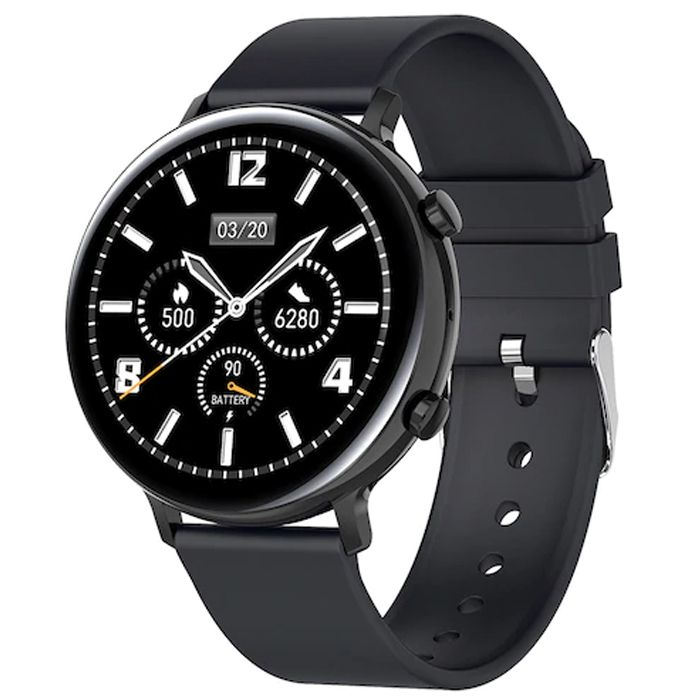 Ceas smartwatch TechONE® GW33, 1.3 inch IPS Full Touch, fitness, BT 4.2, raspuns/refuz, pasi, ritm cardiac, EKG, oxigen, notificari aplicatii, apel bluetooth, sporturi multiple, rezistenta apa IP68, bratara cauciuc, Negru