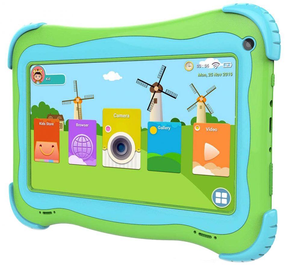 Tableta copii Techone® MID733, 7 inch IPS,  Quad Core, Cortex A35 1.5GHz, 1GB RAM, 16GB memorie stocare, Android 9.0, Bluetooth 4.0, camera foto fata/spate, difuzor stereo, carcasa anti-soc, verde