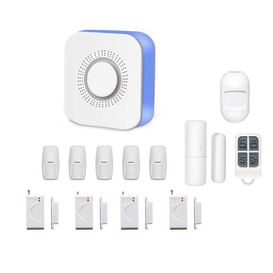 Sistem de alarma wireless Wale® JT-TW, 11 senzori, WIFI, aplicatie Tuya, acumulator inclus, programabila armare/dezarmare, senzor miscare, senzor usa, sirena, telecomanda, pentru casa, birou, apartament, Google Home/Alexa, alb