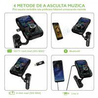 Modulator FM auto Loosafe® FM39Q, display color 1.8 inch, microSD, dual quickcharge 3.0, aux in, handsfree, voltaj baterie, negru