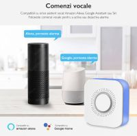 Sistem de alarma wireless Wale® JT-TW, 2 senzori, WIFI, aplicatie Tuya, acumulator inclus, programabila armare/dezarmare, senzor miscare, senzor usa, sirena, telecomanda, pentru casa, birou, apartament, Google Home/Alexa, alb