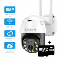 Camera de supraveghere WIFI Loosafe® 50HS Pro, 5MP, exterior/interior, Ultra HD 4K, 4X zoom, rotire, leduri lumina, comunicare bidirectionala, stocare card/cloud, senzor miscare, Alb