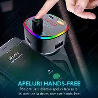 Modulator FM auto Loosafe® FM50, LED RGB, microSD, quickcharge 3.0 40W Type C, handsfree, negru