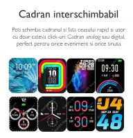Ceas smartwatch TechONE™ T42, 1.7 inch IPS, multi sport, apel bluetooth 5.2, ritm cardiac inteligent, oxigen, rezistent la apa IP67, notificari, vibratii, negru