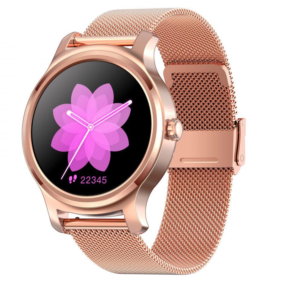 Ceas smartwatch TechONE™ R2, pentru femei, apel bluetooth, difuzor, multi sport, ritm cardiac, oxigen, ovulatie, rezistent la apa IP67, notificari, vibratii, bratara metalica, SIRI, auriu