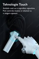 Casti bluetooth Runmus® EarBuds X5, difuzoare duble, wireless, handsfree, BT 5.0, auto imperechere, functie reducere zgomot, activare Siri, design mini, IPX7, incarcare magnetica, compatibil universal, negru