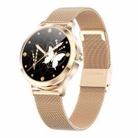 Ceas smartwatch TechONE™ LW07, pentru femei, multi sport, ritm cardiac, nivel oxigen, ovulatie, rezistent la apa IP67, notificari, vibratii, bratara metalica, auriu