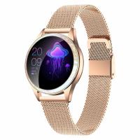 Ceas smartwatch TechONE™ KW20, pentru femei, multi sport, ritm cardiac, oxigen, ovulatie, rezistent la apa IP67, notificari, vibratii, bratara metalica, auriu