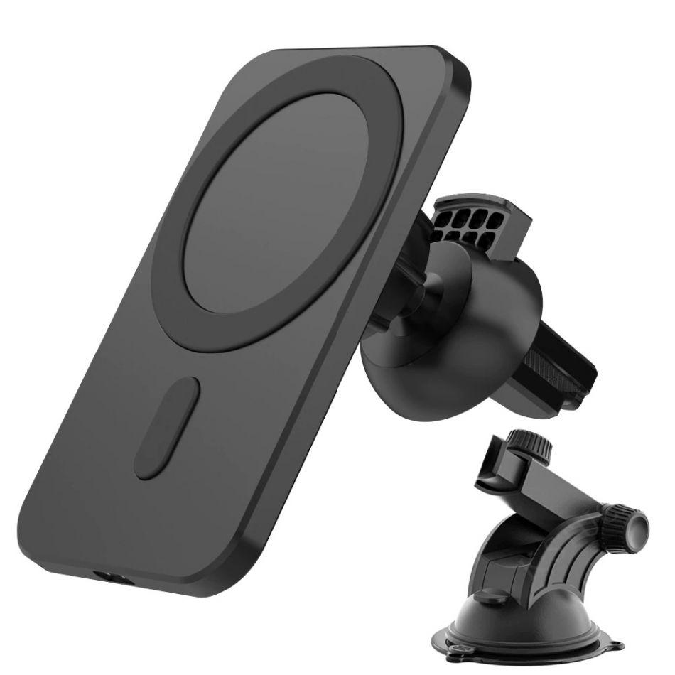 Incarcator wireless auto Loowoko™ N16, pentru iPhone 12, 15W Fast Charge, magnetic, incarcare prin husa, suport ventuza / grila ventilatie, negru