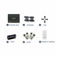 Sistem monitorizare presiune aer anvelope Techone® C260i, senzori interni, ecran color, montare parbriz, incarcare solara si micro USB, auto OFF, negru