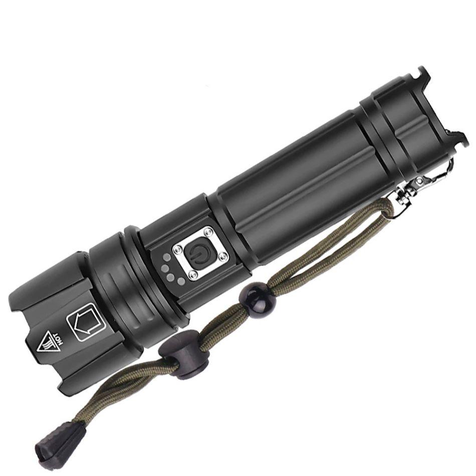 Lanterna LED Techone® SK1909, din aluminiu, sursa XHP70.2 Ultra-Bright, profesionala, focus ajustabil, acumulator inclus, rezistenta la apa, incarcare USB, 3500 lumeni, 5 moduri lumina, negru