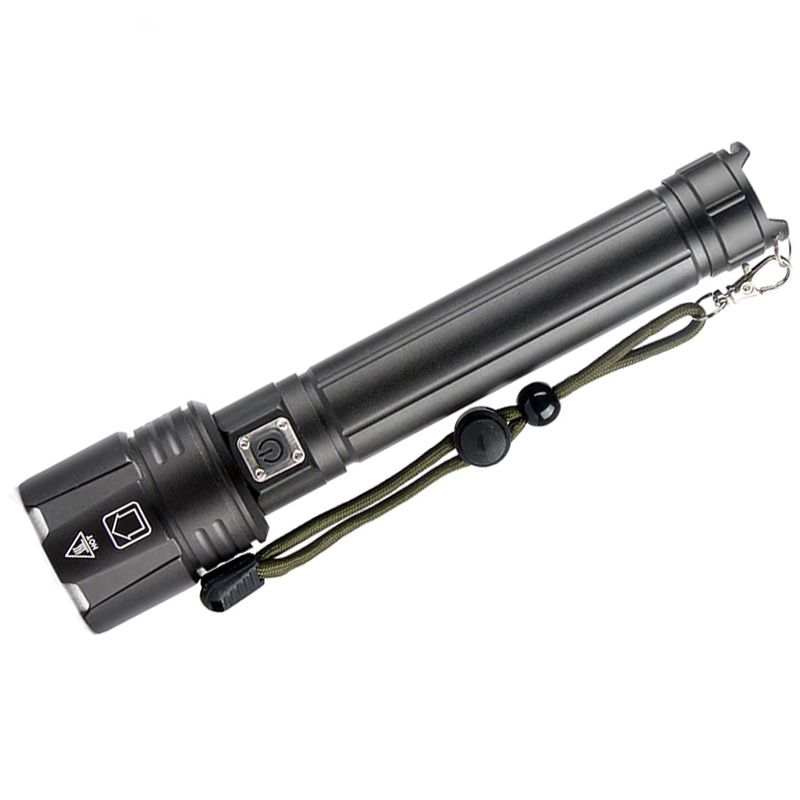 Lanterna tactica LED Techone® SK1910, din aluminiu, sursa XHP90 Ultra-Bright, profesionala, focus ajustabil, acumulator inclus, rezistenta la apa, incarcare USB, 5000 lumeni, 3 moduri lumina, negru