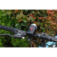 Far bicicleta cu claxon Huerler® C30, LED COB + CREE XPG, acumulator 1000mAh,  500 lumeni, metalic, incarcare USB, rezistent la apa, 4 moduri luminare, negru