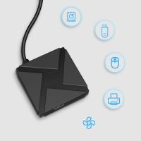 Hub USB Techone® 4TS, 4 porturi, viteza 3.0, cablu 15 cm, negru