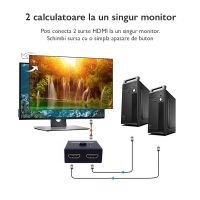 Spliter switch HDMI 4K, Techone® HDSW, 2 x HDMI 2.0, 60 Hz la 1 x HDMI, bi-directional, metalic, negru