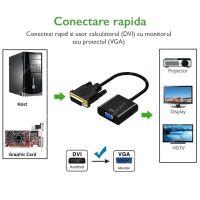 Adaptor convertor DVI la VGA Techone® DVGA, negru