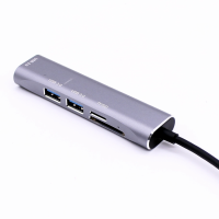 Hub USB Techone® UCard 3P, 3 porturi, viteza 3.0, cititor carduri TF/SD, alimentare Type C, aluminiu, argintiu