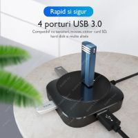 Hub USB Techone® Square4P, 4 porturi, viteza 3.0, alimentare USB, luminat, cablu 20cm, negru