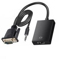 Adaptor convertor VGA la HDMI Techone® VGAHD-02, cu cablu sunet, FullHD, HDPC, alimentare micro USB, negru