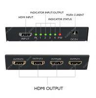 Splitter HDMI Techone® SplitMax 4, iesire 4 x HDMI 1080p, cu amplificator, cu sunet, negru
