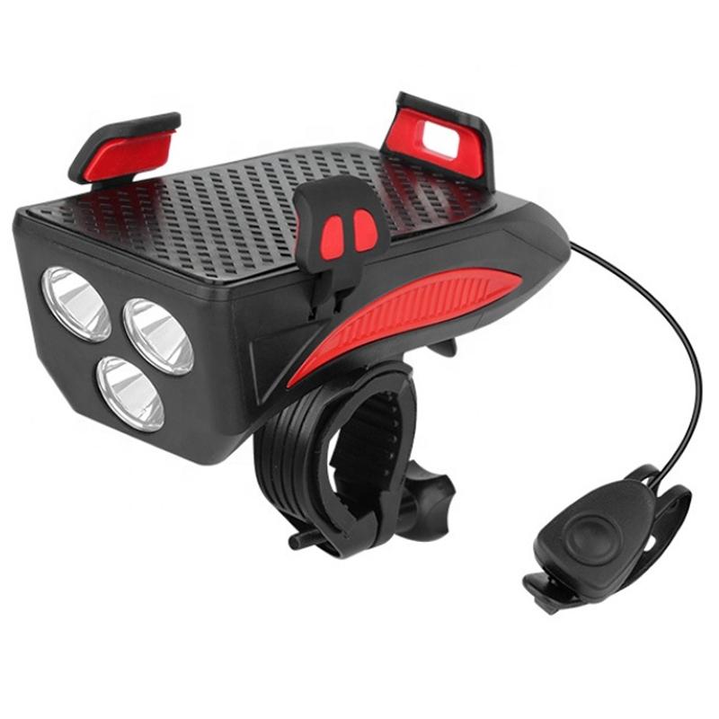 Far bicicleta cu suport telefon Huerler® 7319, cu claxon, 3 x T6 LED, 400 lumeni, acumulator 4800mAh, incarcare USB, rezistent la apa, functie baterie externa, negru