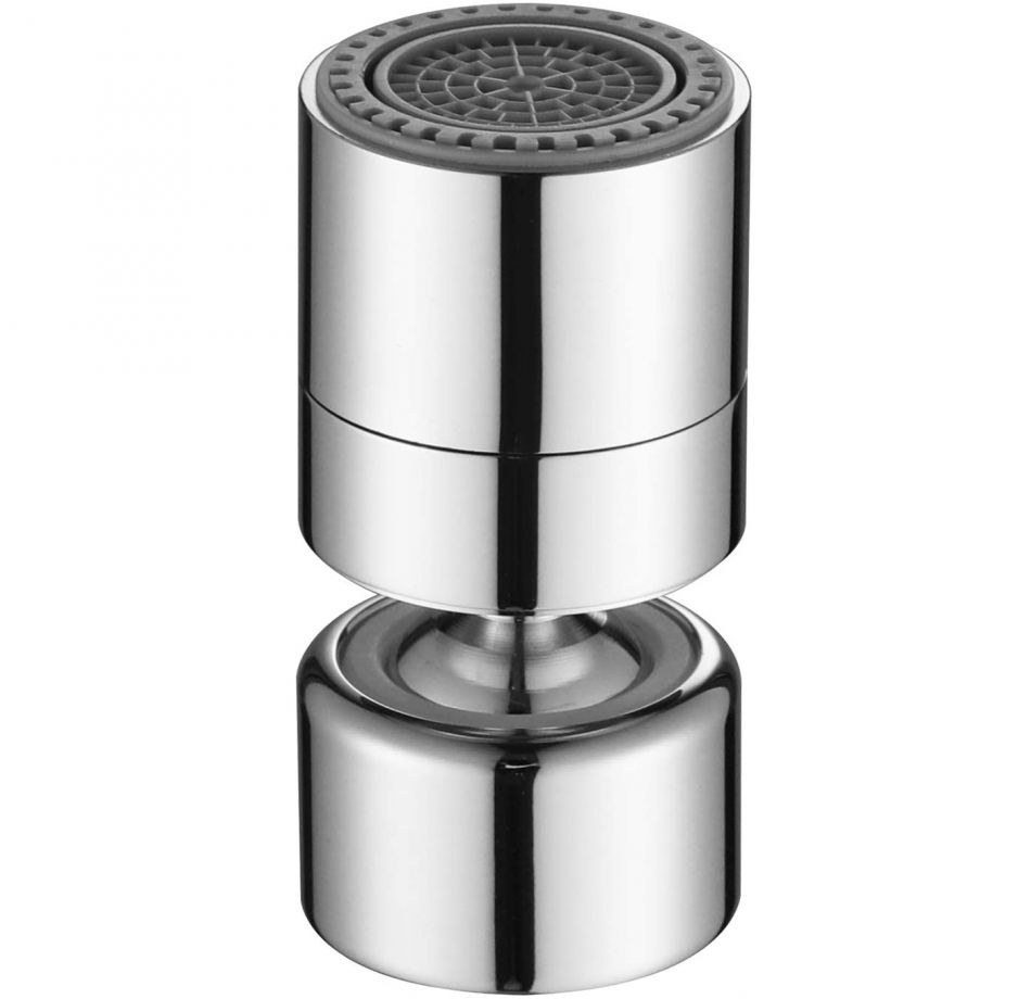 Aerator apa pivotant Topaqua® SK-WS806(F), functie economizor, filtrare, miez ceramic, doua moduri dus/bule, dimensiune M22 mama, debit 4.5 L/min, cromat, argintiu