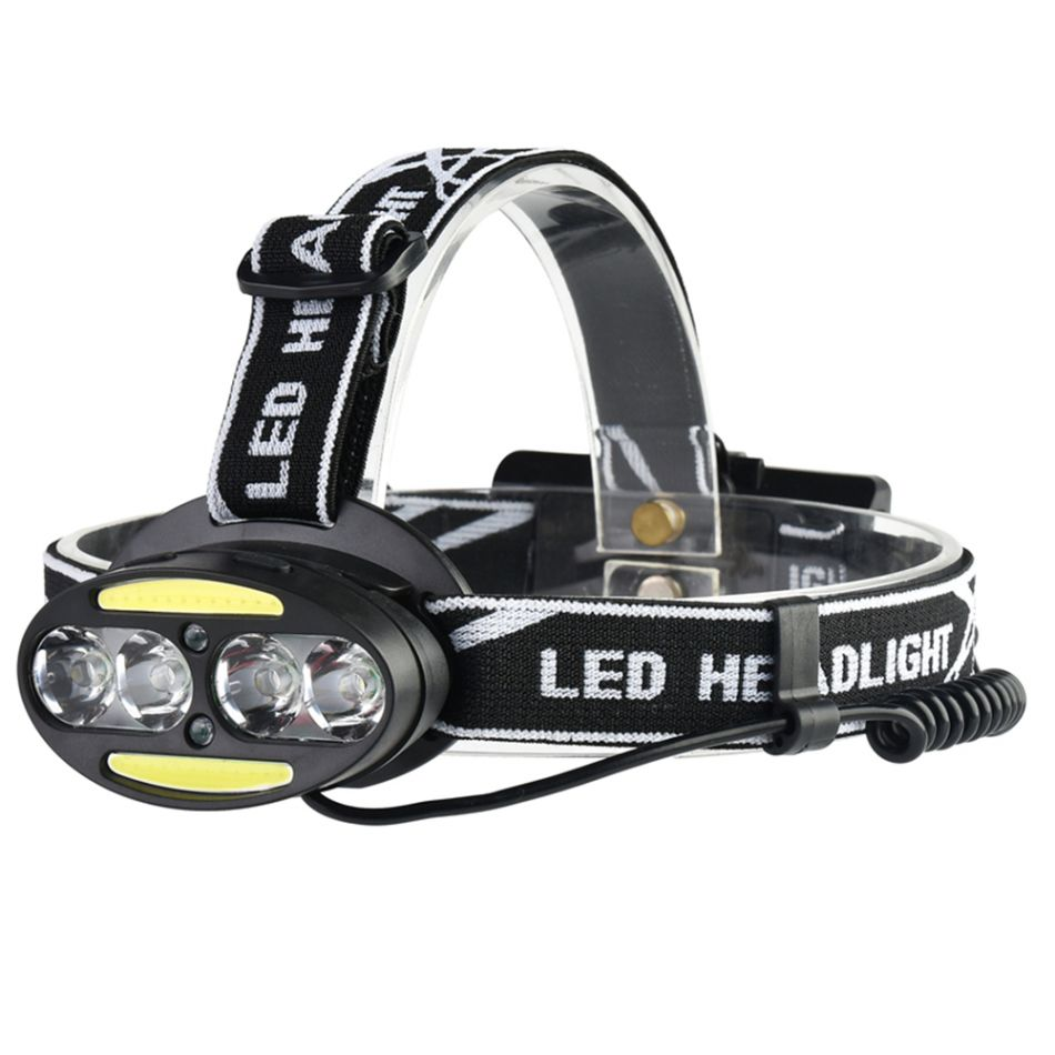 Lanterna de cap LED Techone® GD-HL801, sursa 4*T6 + 2*COB + 2*LED rosu, Ultra-Bright, profesionala, acumulator inclus, rezistenta la apa, 11000 lumeni, 7 moduri lumina, stop atentionare spate, negru
