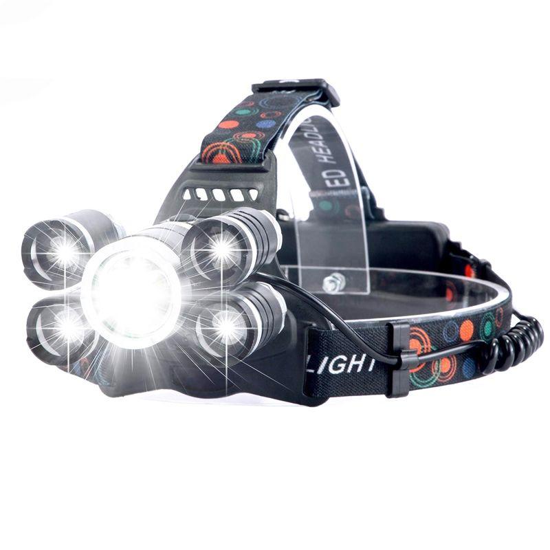 Lanterna de cap LED Techone® GD-HL501, sursa 1 x XML T6 + 4 x COB Ultra-Bright, cu zoom, profesionala, acumulator inclus, rezistenta la apa, 8000 lumeni, 4 moduri lumina, stop atentionare spate, negru