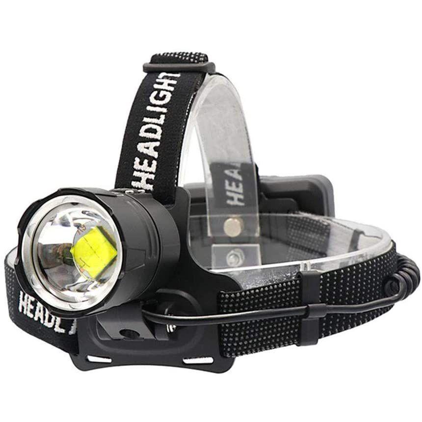 Lanterna de cap LED Techone® GD-HL171, din aluminiu, sursa 1 x LED XP70 Ultra-Bright, cu zoom, profesionala, acumulatori inclus, rezistenta la apa, 20000 lumeni, 4 moduri lumina, stop atentionare spate, negru