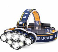 Lanterna de cap LED Techone® GD-HL802, sursa 4 x T6 / 2 x XPE / 2 x COB Ultra-Bright, profesionala, acumulator inclus, rezistenta la apa, 12000 lumeni, 8 moduri lumina, lumina alb/rosu, stop atentionare spate, negru