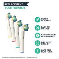 Set 4 rezerve periuta de dinti electrica Oral-B, Horigen® EB-25A Floss Action, compatibile, peri moi, alb