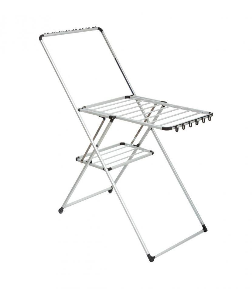 Uscator de rufe metalic KD Home® pliabil, cu suport umerase si agatatori, doua roti pentru deplasare, 10 m, Gri