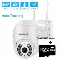 Camera de supraveghere WIFI Loosafe® 50HS Pro+, 5MP, exterior/interior, Ultra HD 4K, 4X zoom, rotire, leduri lumina, comunicare bidirectionala, stocare card/cloud, senzor miscare, Alb