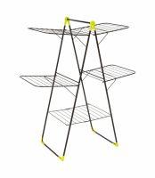 Uscator vertical de rufe metalic KD Home® Mojave, trei etaje, pliabil, antiderapant, desfasurat 30 m negru/verde